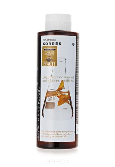 Шампунь для окрашенных волос с подсолнухом и гаультерией, 250 млШампунь бережно очищает, питает и увлажняет окрашенные волосы. Активно восстанавливает и придает им жизненные силы. Волосы приобретают блеск и сохраняют насыщенность цвета.&#13;<br> &#13;<br> Активные компоненты:&#13;<br> Экстрактом подсолнуха; Витамин F; Провитамин B5. Не содержит минеральных масел, силикона, пропилен гликоль, этаноламин. Средство проверено дерматологами.&#13;<br> &#13;<br> Текстура:&#13;<br> Воздушная пена, приятный аромат.&#13;<br> &#13;<br> Способ применения:&#13;<br>Нанести на влажные волосы, вспенить, помассировать, смыть водой. При необходимости повторить.<br>