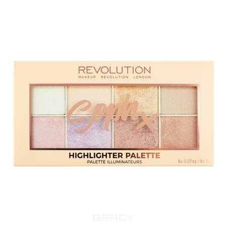 MakeUp Revolution, Палетка хайлайтеров для лица Soph Highlighter Palette, 8 оттенков