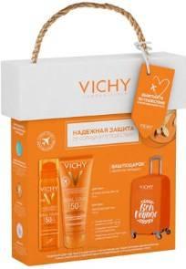 Vichy, Набор: Освежающее и увлажняющее молочко для лица и тела SPF50 + освежающий спрей -вуаль SPF50 + чехол на чемодан в подарок Capital Soleil - 19, 100/75 мл фото