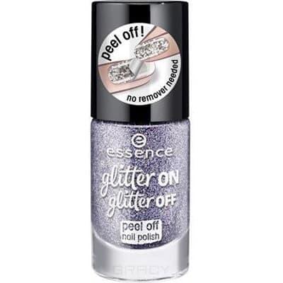 Essence, Лак для ногтей Glitter On Glitter Off, 8 мл (6 оттенков) №05, сиреневый лак для ногтей essence glitter on glitter off 02 8 мл