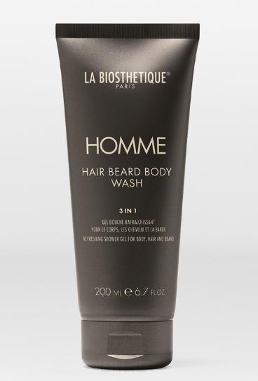 La Biosthetique, Очищающий, увлажняющий и освежающий гель для тела, волос и бороды Homme Hair Beard Body Wash, 200 мл