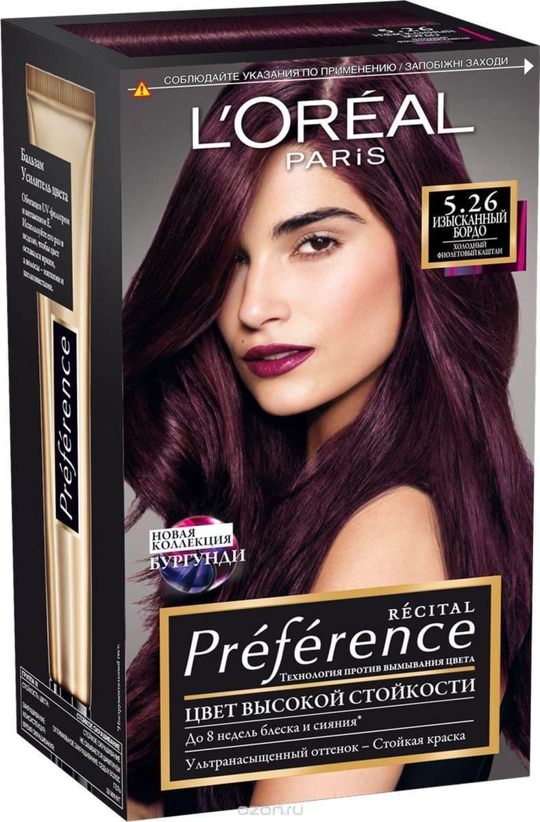 LOreal, Краска для волос Preference (27 оттенков), 270 мл 5.26 Изысканное бордоОкрашивание<br><br>