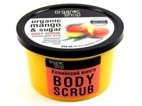 Скраб для тела Кенийский манго, 250 млОписание:&#13;<br> &#13;<br> Чувствительная и склонная кожа тела нуждается в очищении и отшелушивании так же, как и любая другая, но многие средства могут повредить ее и оказать обратный эффект. Выбирая скраб для тела, обратите внимание на размер абразивных частиц и состав, в котором должны быть только натуральные компоненты. Чувствительной коже прекрасно подойдет сахарный скраб из серии Organic Shop с экстрактом манго.&#13;<br> &#13;<br> Способ применения:&#13;<br> &#13;<br> Нанести на влажную кожу легкими массирующими движениями, помассировать несколько минут, смыть теплой водой.&#13;<br> &#13;<br> Состав:&#13;<br> &#13;<br> Sucrose (тростниковый сахар), Glycerin, Camellia Sinensis Leaf Extract (органический экстракт зеленого чая), Chamomilla Recutita Flower extract (органический экстракт ромашки), Mangifera Indica Seed Oil (органический экстракт манго), Cetearyl Alcohol, Sodium Cocoyl Isethionate, citruc Aurantium Dulcis Flower oil (масло нероли), Hippophae Rhaimnoides Fruit Oil (масло облепихи), Iron Oxides.<br>