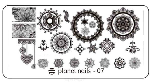 Planet Nails, Пластина для Stamping Nail Art (15 видов) Пластина для Stamping Nail Art - 07 stylish 24 pcs smile expression pattern nail art false nails