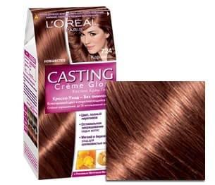 LOreal, Краска для волос Casting Creme Gloss (37 оттенков), 254 мл 724 КарамельОкрашивание волос Casting, Preference, Prodigy, Excellence<br><br>