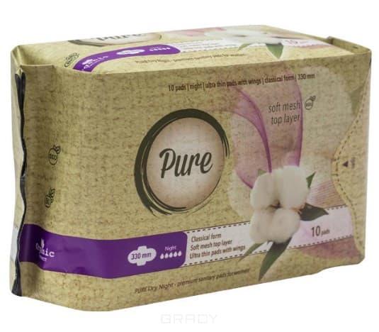 Купить Pure, Прокладки гигиенические женские Dry Night, 33 см, 10 шт