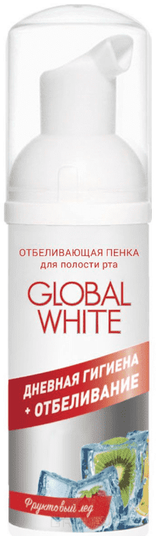 Global White, Пенка отбеливающая для полости рта Global White Фруктовый лед, 50 мл global views plie table polished brass white honed marble