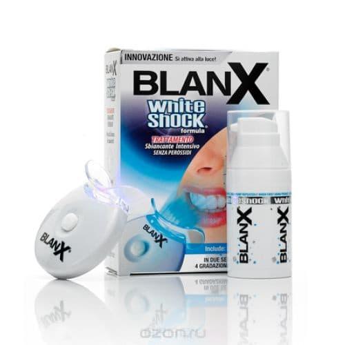 Blanx Отбеливающий уход + световой активатор Blanx whith shock treatment + Led Bite, 50 млBlanX White Shock Treatment - уникальная, интенсивного действия отбеливающая зубная паста. Предназначена для применения днем. Быстро, эффективно, безопасно возвращает зубам их натуральную белизну. В пасте используется специальная разработка BlanX - компонент ActiluX, который активируется дневным светом. ActiluX накапливается на зубной эмали и продолжает отбеливать зубы каждый раз, когда на них падают лучи дневного света. &#13;<br>&#13;<br>Отбеливание происходит в два этапа - пастой White Shock Treatment и светодиодным активатором. &#13;<br>Можно регулярно чистить зубы пастой, а активатор использовать в течение минуты после чистки, что позволит значительно усилить эффект отбеливания. &#13;<br>&#13;<br>Способ использования: &#13;<br>Желательно использовать BlanX White Shock Treatment в течение 2 недель каждые 3 месяца. Светодиодный активатор, на который нанесено немного пасты, на 1 - 10 минут подносится к зубам. &#13;<br>&#13;<br>Результат проявляется уже после первых применений.<br>