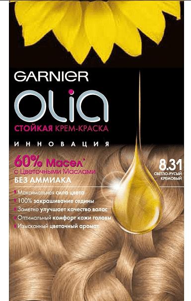 Garnier, Краска для волос Olia, 160 мл (24 оттенка) 8.31 Светло-русый кремовыйGreenism - эко-серия для ухода<br><br>