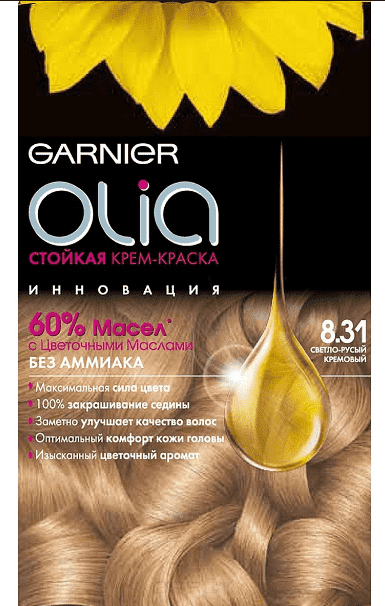 Garnier, Краска для волос Olia, 160 мл (24 оттенка) 8.31 Светло-русый кремовыйОкрашивание<br><br>
