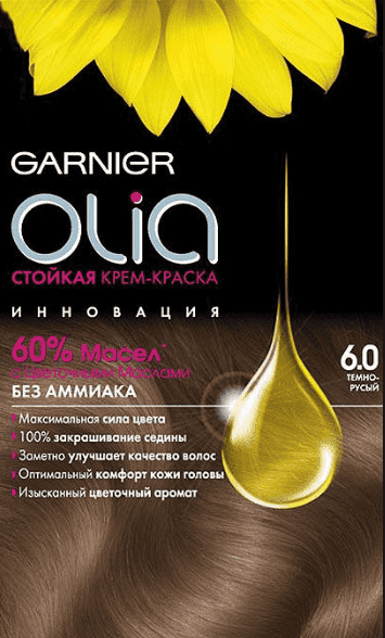Garnier, Краска для волос Olia, 160 мл (24 оттенка) 6.0 Темно-русыйОкрашивание<br><br>