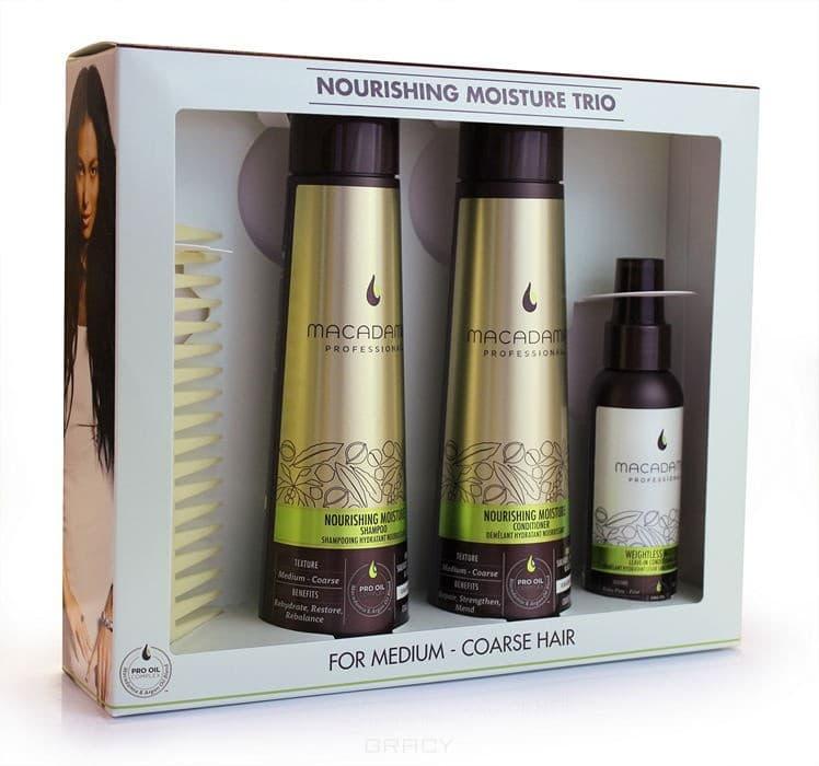 Набор M5751 для всех типов волос Nourishing Moisture Trio Set, 300/300/100 млВ набор входят средства из линии Macadamia Professional:&#13;<br>  &#13;<br>&#13;<br>  &#13;<br>Шампунь питательный для всех типов волос 300 мл&#13;<br>  &#13;<br>Кондиционер питательный для всех типов волос 300 мл&#13;<br>  &#13;<br>Спрей-кондиционер несмываемый 100 мл&#13;<br>  &#13;<br>Гребень, пропитанный маслами макадамии и арганы 1 шт<br>