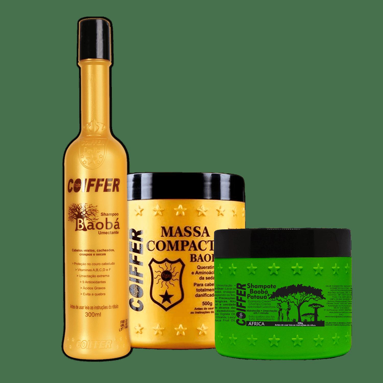 Купить Coiffer, Baoba Набор для увлажнения смешанных, сухих и вьющихся волос (300 мл+ 350 гр + 500 гр)