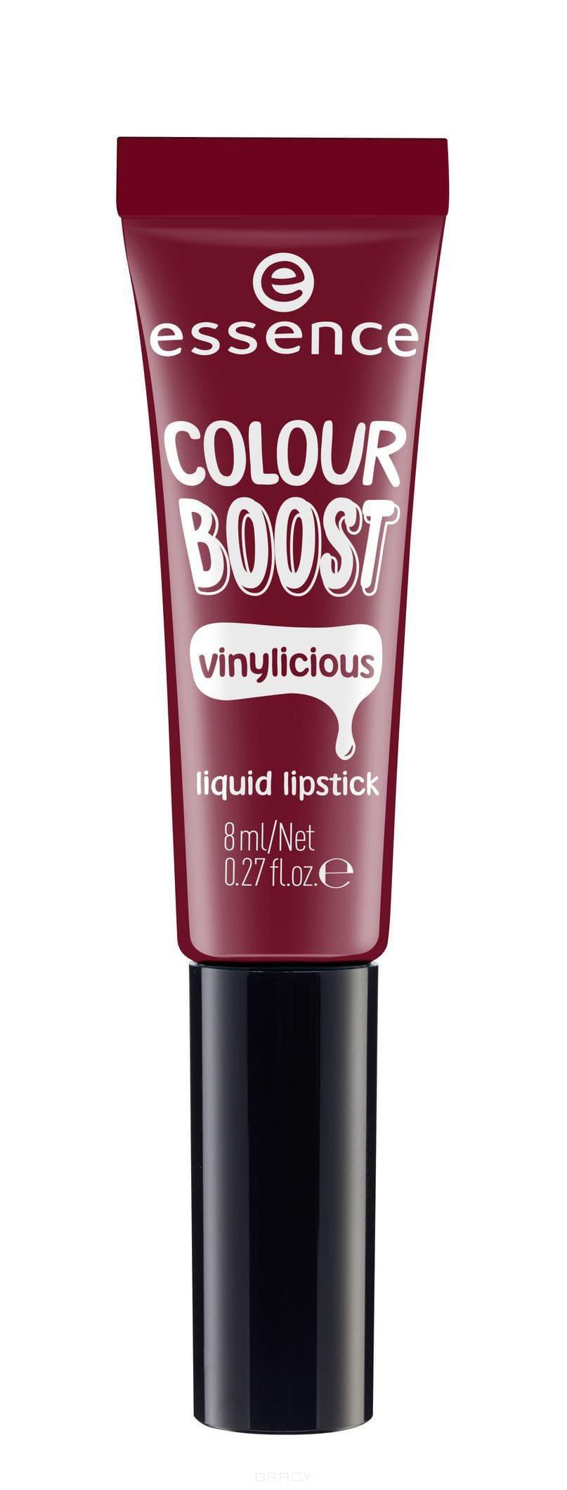 все цены на Essence, Жидкая губная помада Colour Boost Vinylicious Liquid Lipstick, 8 мл (6 тонов) №08, вишневый онлайн