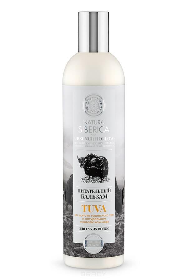 Бальзам для сухих волос Питательный Tuva, 400 млна молоке тувинского яка и натуральном монгольском меде&#13;<br> &#13;<br> Питательный бальзам увлажняет и насыщает волосы необходимыми элементами, возвращая им здоровый вид, природную мягкость и блеск.&#13;<br> &#13;<br> Молоко тувинского яка – неиссякаемый жизненный источник силы для ваших волос. Оно содержит витамины и минеральные вещества, которые питают волосы, приподнимают их у корней, не утяжеляя их, что облегчает процесс расчесывания.&#13;<br> &#13;<br> Натуральный мед содержит витамины группы В, Е, К, С, которые укрепляют волосы по всей длине, заряжая их энергией. После применения бальзама ваши волосы сияют красотой.&#13;<br> &#13;<br>Нанесите бальзам равномерно на влажные вымытые волосы, распределите по всей длине, оставьте на 2-3 минуты, смойте водой.<br>