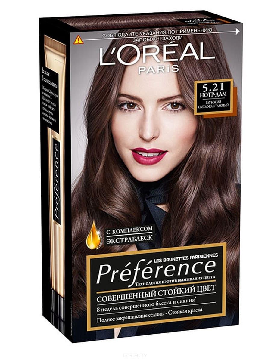 L'Oreal, Краска для волос Preference (27 оттенков), 270 мл 5.21 Нотр-Дам с комплексом экстраблеск l oreal краска для волос preference 27 оттенков 270 мл 7 1 исландия пепельно русый