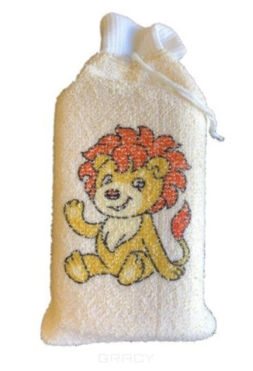 Купить Vival, Мочалка детская брикет с манжетой из хлопка с рисунком