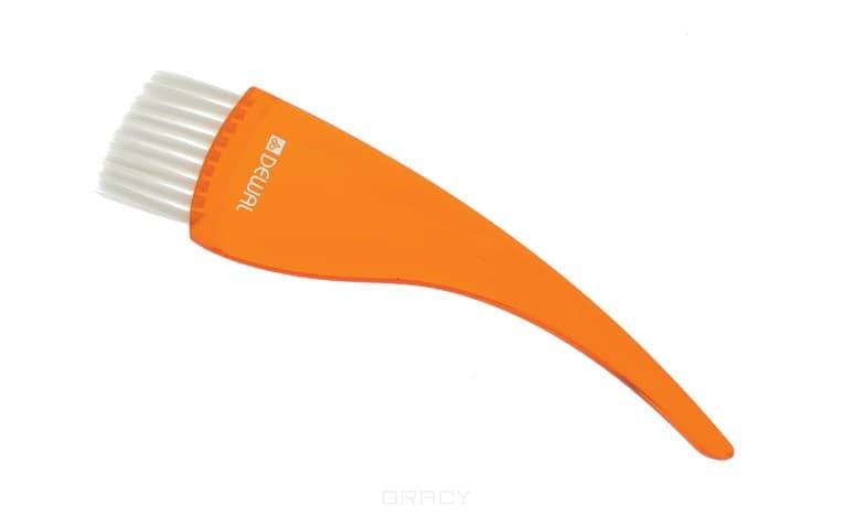 Dewal, Кисть прозрачная, с белой прямой щетиной, широкая, 50 мм (5 цветов) Оранжевая