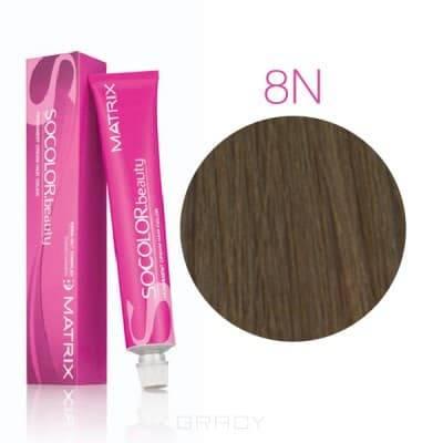 Купить Matrix, Крем краска для волос SoColor.Beauty профессиональная, 90 мл (палитра 133 цветов) SOCOLOR.beauty 8N светлый блондин