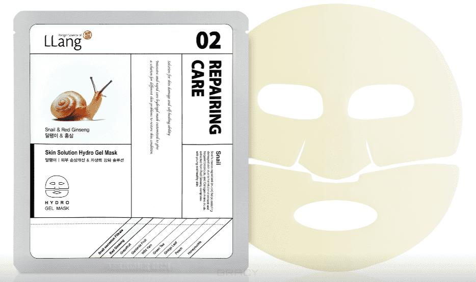 цена на LLang, Гидрогелевая маска с экстрактом улитки и красного женьшеня Skin Solution Hydro Gel Mask (Snail & RedGinseng), 25 мл