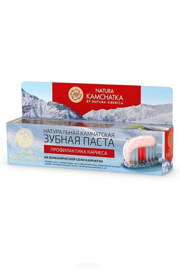 Натуральная камчатская зубная паста Профилактика кариеса Kamchatka , 100 млОписание:&#13;<br> &#13;<br> Натуральная камчатская зубная паста бережно и деликатно отбеливает зубы, не повреждая эмаль. Входящие в её состав природные компоненты эффективно укрепляют зубную эмаль, повышая ее устойчивость к возникновению кариеса.&#13;<br> &#13;<br> Тигровая трава оказывает заживляющее и противовоспалительное действие.&#13;<br> &#13;<br> Масло камчатской розы и органический экстракт шалфея помогает снять воспаления, укрепляет и питает десны.&#13;<br> &#13;<br> Активный кальций действует идентично пломбе, заполняя микротрещины на поверхности эмали,  восстанавливая и предотвращая ее истончение.&#13;<br> &#13;<br> Ксилит борется с распространением бактерий в полости рта, освежая дыхание.&#13;<br> &#13;<br> Витаминный комплекс С и Е эффективно заботится о здоровье десен.&#13;<br> &#13;<br> Способ применения:&#13;<br> &#13;<br> Небольшое количество пасты нанести на зубную щетку, круговыми движениями чистить зубы в течение 2-3 минут, прополоскать рот. Рекомендуется использовать не менее двух раз в день.<br>
