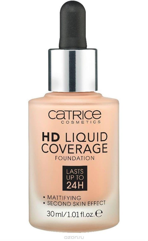 Catrice, Основа тональная HD Liquid Coverage Foundation (4 оттенка), 1 шт, 010 Light Beige светло - бежевый тональные кремы nyx professional makeup матирующая тональная основа stay matte but not flat liquid foundation soft beige 05