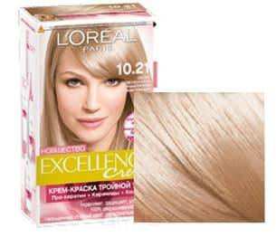 LOreal, Краска дл волос Excellence Creme (32 оттенка), 270 мл 10.21 Светло-светло-русый перламутровый осветлщийОкрашивание волос Casting, Preference, Prodigy, Excellence<br><br>