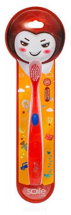Smile Care, Зубная щетка для детей с тонкой мягкой щетиной, красная (от 2-х лет) зубная щетка tepe nova с мягкой щетиной