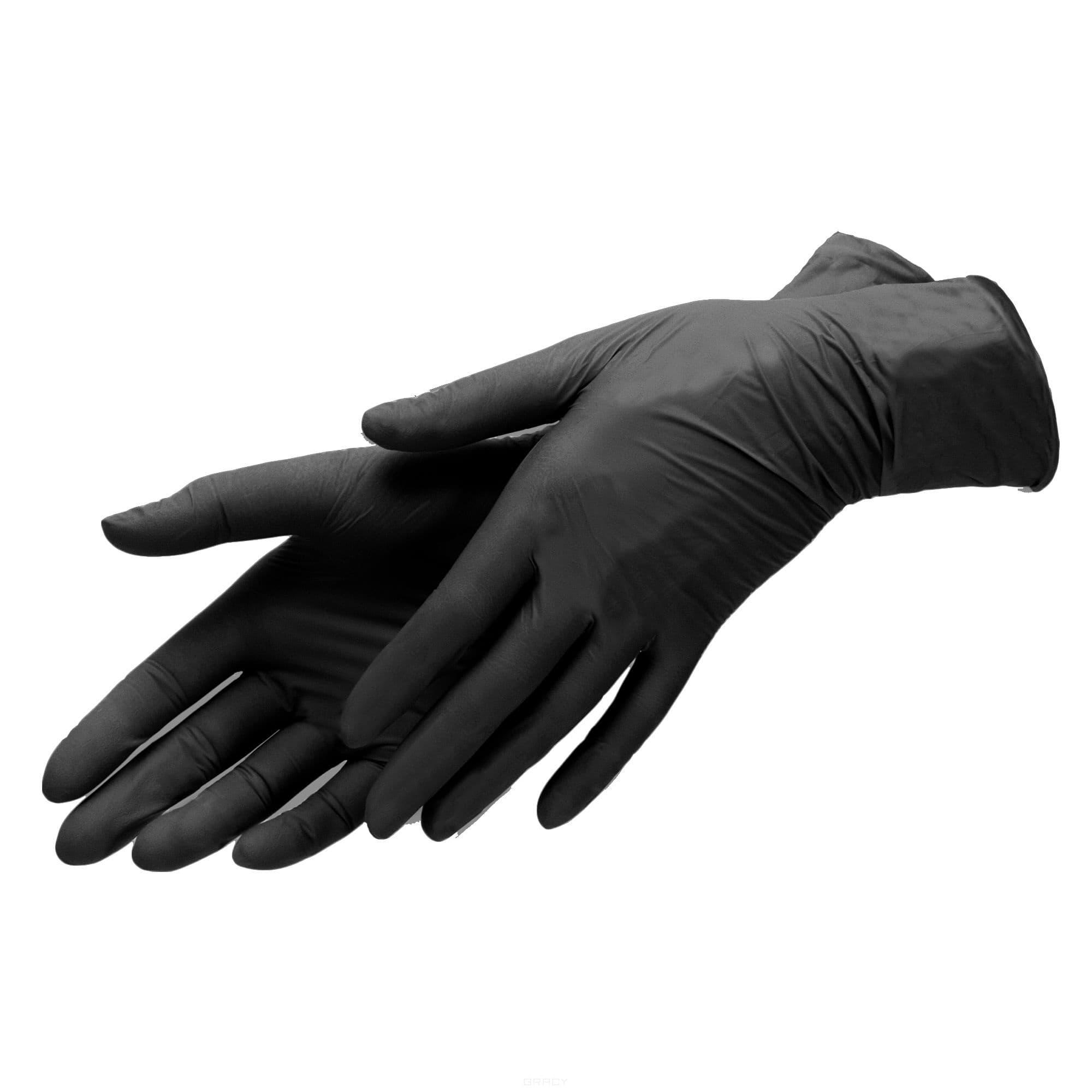 Planet Nails, Перчатки нитриловые, черные Планет Нейлс, 100шт/уп (2 размера), 100 шт/уп, размер М