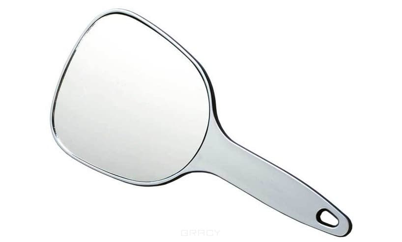 Зеркало косметическое, пластик, серебристое с ручкой, 12х15 см<br>
