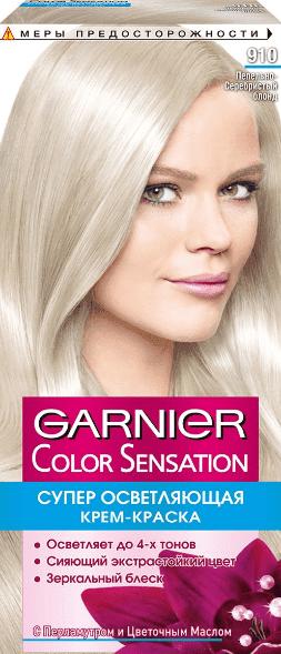 Garnier, Краска для волос Color Sensation, 110 мл (25 оттенков) 910 Пепельно-серебристый Блон garnier краска для волос color sensation 110 мл 25 оттенков 10 21 перламутровый шелк