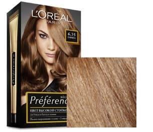 LOreal, Краска для волос Preference (27 оттенков), 270 мл 6.35 Гавана светлый янтарьОкрашивание<br><br>