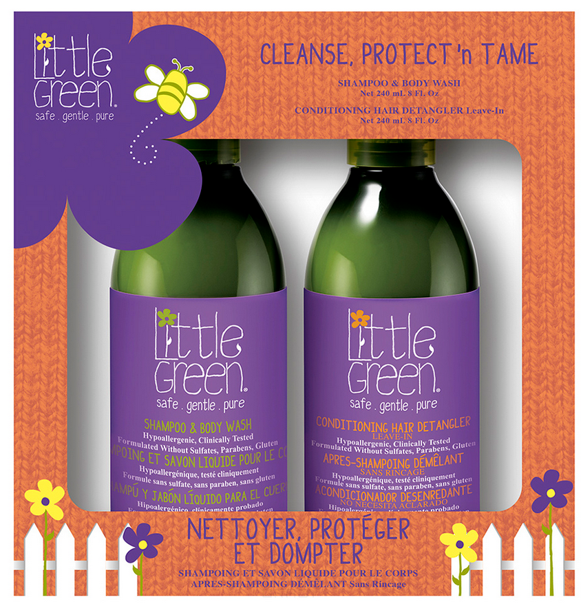 Купить Little Green, Набор для детей Очищай и укрощай Cleanse, Protect 'N Tame (шампунь, кондиционер), 240/240 мл