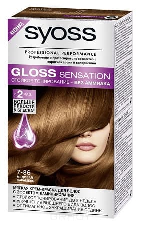 Syoss, Крем-краска дл волос Gloss Sensation без аммиака, 115 мл (20 оттенков) 7-86 Медова карамельОкрашивание волос Syoss<br><br>