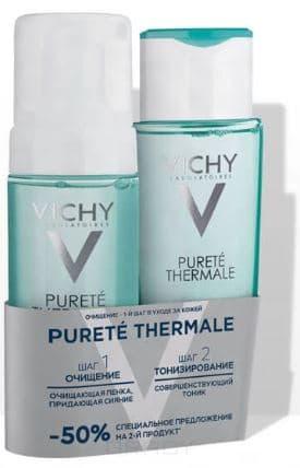 Vichy, Совершенствующий Тоник + Очищающая Пенка, придающая сияние, СКИДКА 50% на пенку, 200 + 150 мл vichy purete thermale masque маска очищающая поры 75 мл