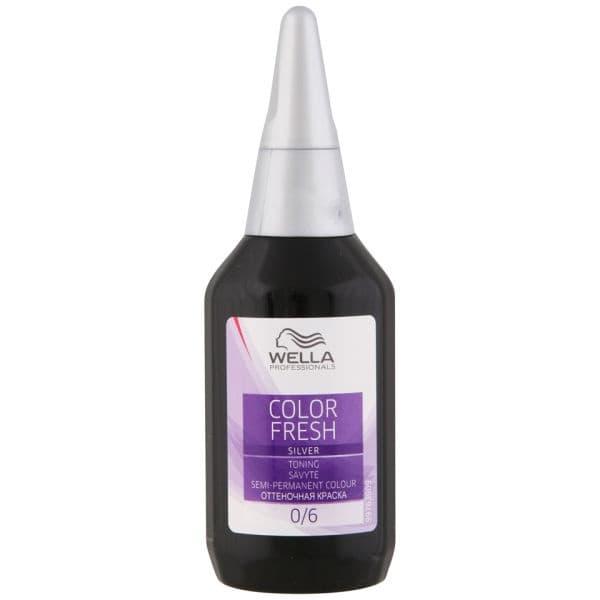 Оттеночная краска для волос Color Fresh Silver без аммиака, 75 мл (5 оттенков)ПрименениеColor Freshв домашних условиях помогает сохранить яркость цвета между процедурами окрашивания волос в салоне красоты.&#13;<br> &#13;<br>Освежает оттенок волос, окрашенных ранее перманентными красками или тонирующими препаратами, и придает волосам великолепный блеск.&#13;<br> &#13;<br>Обладает великолепными ухаживающими качествами благодаря особому (кислому) значению рН-фактора 6.5 и витаминам Е, Н и А в составе данной краски. &#13;<br>      &#13;<br>     Катионовая [положительно заряженная] структура Color Fresh способствует целенаправленному воздействию питательных компонентов на поврежденные участки волоса, заряженных отрицательно. &#13;<br>      &#13;<br>     &#13;<br>      &#13;<br>     Результат:яркий, живой и стойкий цвет, великолепный блеск, прекрасная расчесываемость волос.<br>