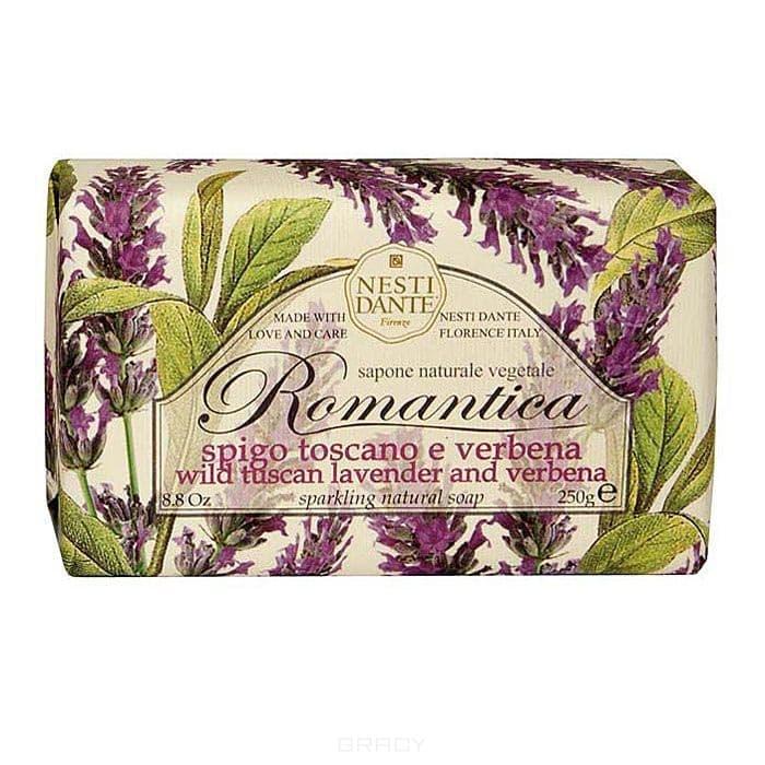 Мыло Тосканская лаванда и вербена, 250 гр.Натуральное мыло премиум-класса Nesti Dante &amp;amp;quot;Romantica. тосканская лаванда и вербена&amp;amp;quot; - два букета, бережно отобранные самые романтичные и эмоциональные ароматы, самые незабываемые моменты нашей жизни в магии цветов провинции Тоскана. Аромат лаванды оказывает умиротворяющее действие, повышает внимание, улучшает память и помогает справиться с депрессией. Аромат вербены - легкий, карамельно-леденцовый, свежий и терпкий одновременно. Легкая, приятная композиция напомнит свежесть лепестков омытых утреней росой. &#13;<br>  &#13;<br> Изысканная флорентийская бумага, в которую завернуто мыло, расписана акварелью, на каждом кусочке мыла выгравирована надпись &amp;amp;quot;With Love And Care (С любовю и заботой)&amp;amp;quot;.<br>