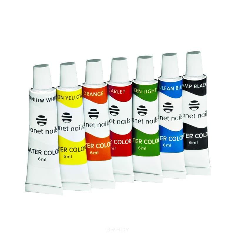 Planet Nails, Краска акриловая на водной основе (6 цветов), 6 мл Краска акриловая на водной основе Цветная, 6 млНейл-арт и дизайн ногтей<br><br>