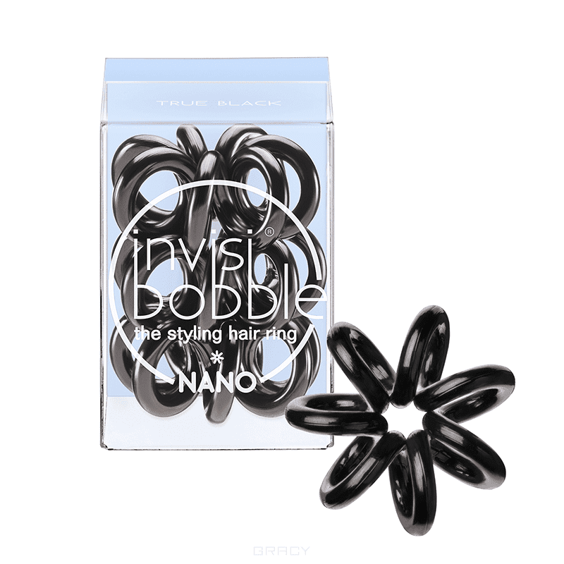 Invisibobble, Резинка для волос черная Nano True Black (3 шт.)Зажимы, шпильки, резинки<br><br>