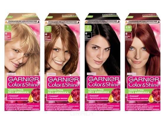 Краска для волос Color &amp;amp; Shine (13 оттенков), 110 млОсновное отличие линейки красок для волос GARNIER КОЛОР ШАЙН   это отсутствие аммиака. Благодаря этому окрашивание волос, более щадящее и менее травматическое для структуры волос. Также в составе этого продукта вытяжка из ягод клюквы и аргановое масло. Эти составляющие активно питают витаминами и насыщают влагой локоны, создавая живой блеск и сияние. Эта краска закрашивает до 50% седины, но специалисты рекомендуют именно эту линейку для изменения тональности, но не кардинальной смены образа. Продукт практически не вымывается с волос и остается в течение 1,5 – 2-х месяцев.<br>