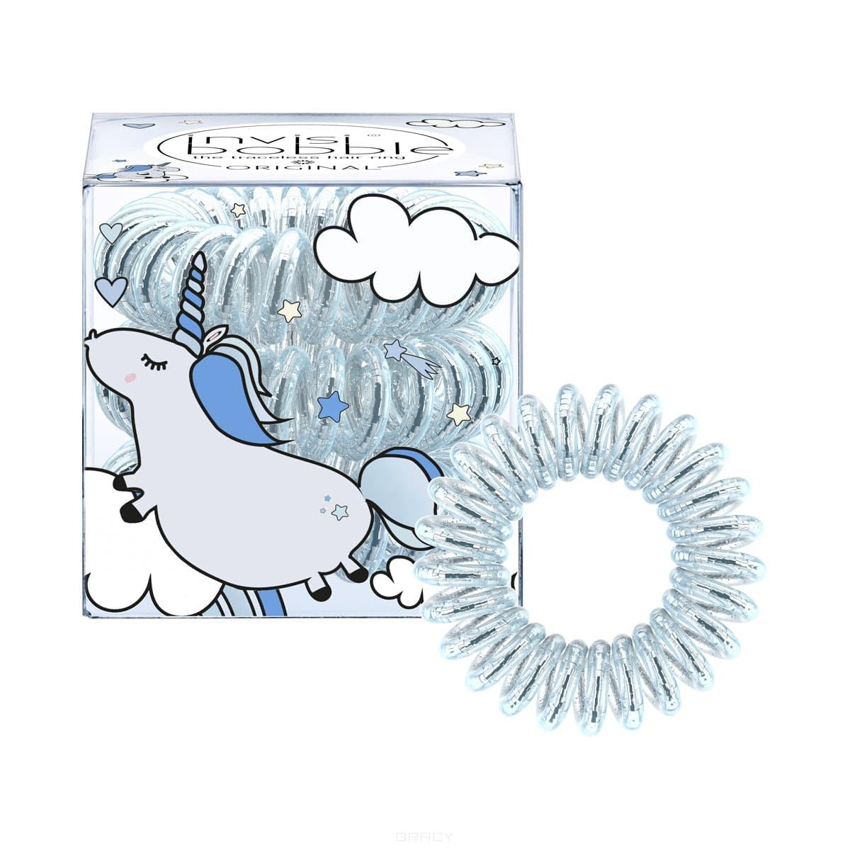 Invisibobble, Резинка для волос Original Unicorn Henry прозрачная с голубым, (3 шт.) invisibobble резинка для волос кораллового цвета original fancy flamingo 3 шт резинка для волос кораллового цвета original fancy flamingo 3 шт 3 шт уп