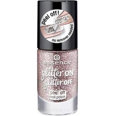 Essence, Лак для ногтей Glitter On Glitter Off, 8 мл (6 оттенков) №02, розовый лак для ногтей essence glitter on glitter off 02 8 мл