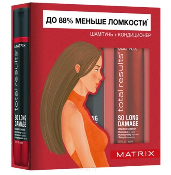 Matrix, Весенний набор для восстановления волос шампунь + кондиционер So Long Damage, 300/300 мл шампунь для поврежденных волос с керамидами so long damage matrix