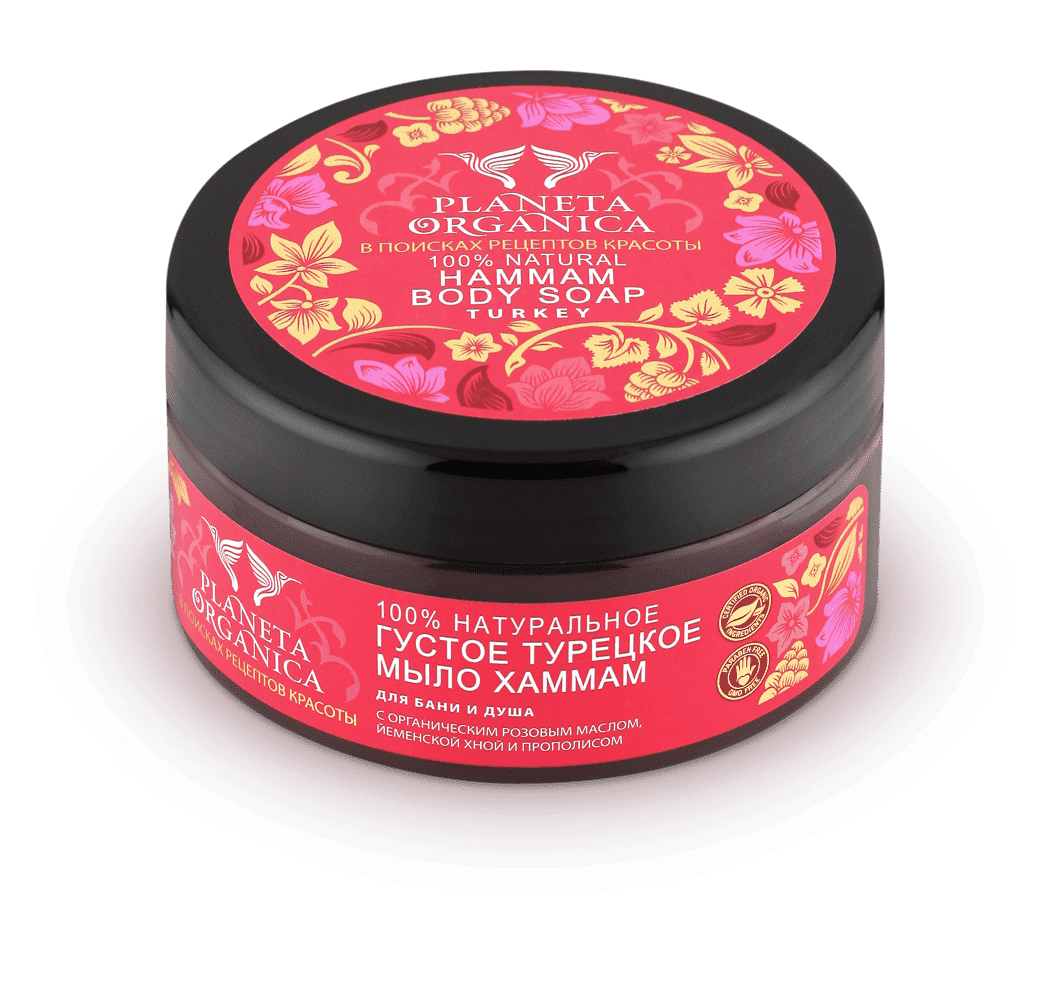 Мыло для бани и душа Хаммам- 100% натуральный продукт&#13;<br> - Органические масла эвкалипта, лавра и розового масла&#13;<br> - Древняя восточная рецептура&#13;<br> - Традиционное мыло турецкой бани&#13;<br> - Йеменская хна и прополис с мощными антисептическими и антиоксидантными свойствами&#13;<br> &#13;<br> Прополис содержит самые полезные органические соединения, такие, как флавоноиды, терпены, гликозиды, которые оказывают наиболее благоприятное воздействие на организм человека, а по своей эффективности не уступают даже синтетическим препаратам. Прополис мягко и эффективно очищает, стимулирует процессы регенерации кожи. &#13;<br> &#13;<br> Мыло варится в соответствии с традициями хаммам, используя древние восточные рецепты. Органическое розовое масло, входящее в состав мыла, омолаживает, придает ровный и красивый цвет коже. &#13;<br> &#13;<br> Йеменская хна и органическое масло эвкалипта обладает мощными антисептическим и антиоксидантным действиями, интенсивно питают и смягчают кожу, препятствуя потере влаги.&#13;<br> &#13;<br> ИНГРЕДИЕНТЫ &#13;<br> Aqua, Potassium Oilvate (из оливкового масла), G...<br>