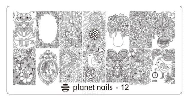 Planet Nails, Пластина для Stamping Nail Art (15 видов) Пластина для Stamping Nail Art - 12 stylish 24 pcs smile expression pattern nail art false nails