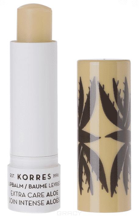 Korres, Бальзам-стик для губ экстра уход Алоэ, 5 мл коррес бальзамстик для губ с экстрактом мандарина бесцветный spf 15 5 мл korres korres уход за губами