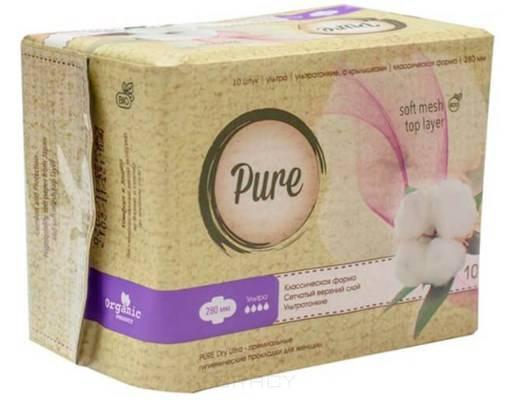 Pure, Прокладки гигиенические женские Dry Ultra, 28 см, 10 шт цена