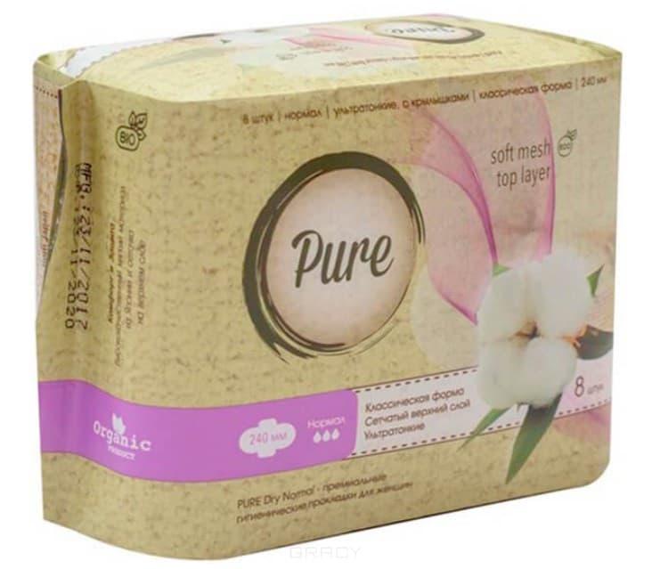 Купить Pure, Прокладки гигиенические женские Dry Normal, 24 см, 8 шт