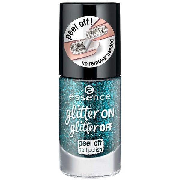 Essence, Лак для ногтей Glitter On Glitter Off, 8 мл (6 оттенков) №06, зеленый лак для ногтей essence glitter on glitter off 02 8 мл