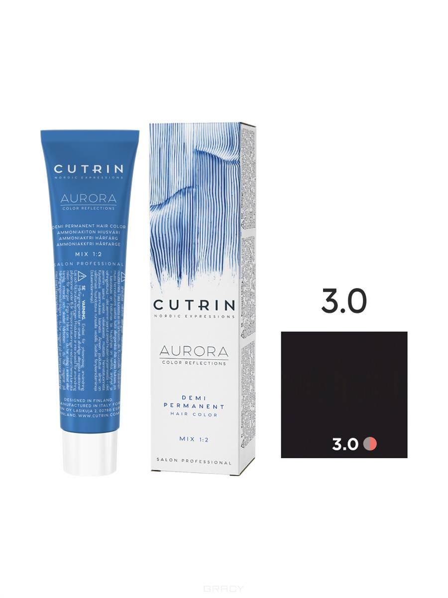 Купить Cutrin, Безаммиачная краска Aurora Demi (Новый дизайн Reflection Demi), 60 мл (55 оттенков) 3.0 темно-коричневый